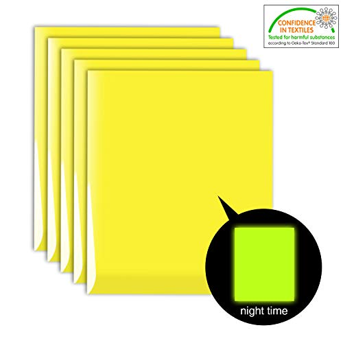 5 Sheets Neon Glow in The Dark Iron-on Heat Transfer Vinyl, Neon Yellow Glow Yellow HTV Bundle (12 x 10 inches) for DIY Clothes Like T-Shirts Hats Helmet, Eco-Friendly Materials