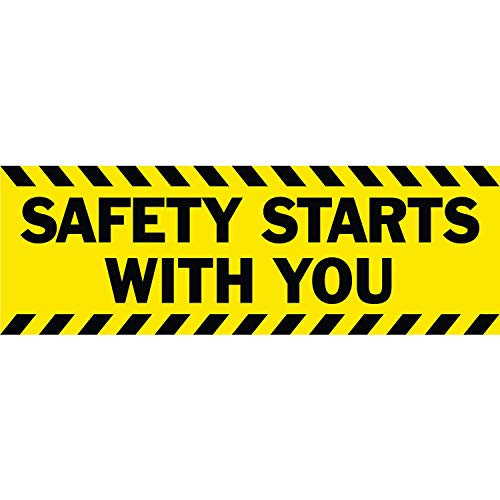 HALF PRICE BANNERS | Safety Starts with You Vinyl Banner-Indoor/Outdoor 2X6 Foot-Yellow | Includes Bungees & Zip Ties | Easy Hang-Made in USA