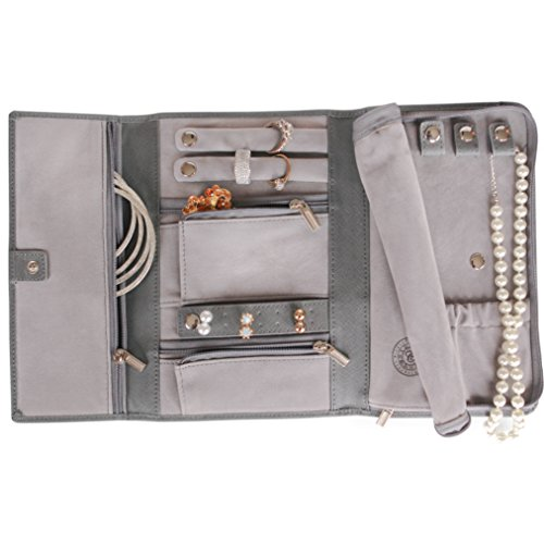 Leather Travel Travel Case - Saffiano Leather Travel Jewelry Case - Jewelry Organizer [Petite] by Case Elegance