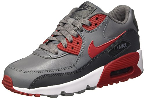 NIKE nữ bán chạy tại Mỹ/ Nữ nike 833412-007 kid's air max 90 leather running shoes, cool gray/gym red/anthracite, 6.5 m us big kid