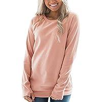 FARYSAYS Women's Casual Long Sleeve Round Neck Side Zip Pullover Sweatshirt Tunic Tops