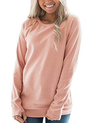 FARYSAYS Women's Casual Long Sleeve Round Neck Side Zip Pullover Sweatshirt Tunic Tops Pink Medium