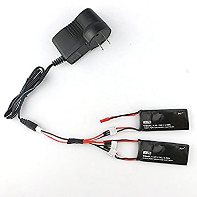 Spare Parts 2PCS 7.4V 15C 610mAh Battery with Charger Set for Hubsan H502S RC Quadcopter