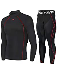 Take Five Compression Base Layer Long Sleeve High Neck Shirts and Long Pants Set