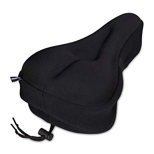 Relaxdays Zadelhoes met gel, zacht en comfortabel, gelhoes voor fietszadel, met veiligheidsband, gevoerd, zwart