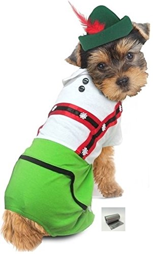 "Puppe Love Oktoberfest Lederhosen Alpine Boy Costume with Bags- for Dog Size (S/M – Chest 14-16"", Neck 10.5"", Back 10.75"", Green)"