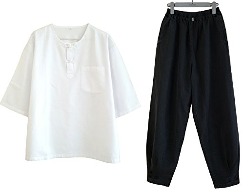 Altair Men Women Cotton 100% Shirt or Pants, Buddhist Zen Meditation Clothing, Temple Yoga Clothing (White Shirt, L)