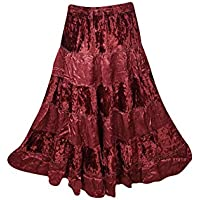 Mogul Womans Long Skirt Velvet Touch Rayon A-line Boho Tiered Gypsy Medieval Skirts