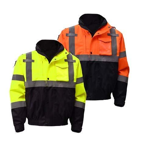 - Waterproof Bomber Jackets for Men or Women | Hi Vis Waterproof Bomber Jacket | Removable Fleece | ANSI Class 3 Compliant (L, Hi Vis Yellow)