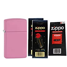 Zippo 1638 Slim Plain Matte Pink Windproof Lighter with Two Flint Card and One Wick Card