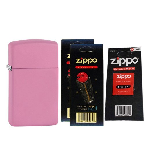 Zippo 1638 Slim Plain Matte Pink Windproof Lighter with Two Flint Card and One Wick Card (Matte Zippo Pink)