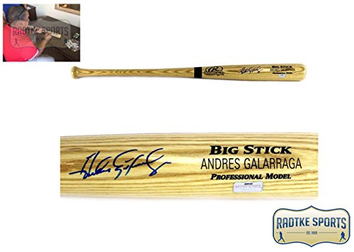 Signed Big Stick Bat - Andres Galarraga Autographed/ Signed MLB Blonde Rawlings Engraved Big Stick Bat - Atlanta Braves
