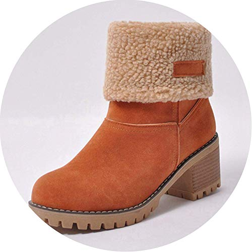 (FS65a32zxc High end Women Boots Female Winter Shoes Woman Fur Warm Snow Boots Square Heels Ankle Boots Botas Mujer,10MUS,Orange3)