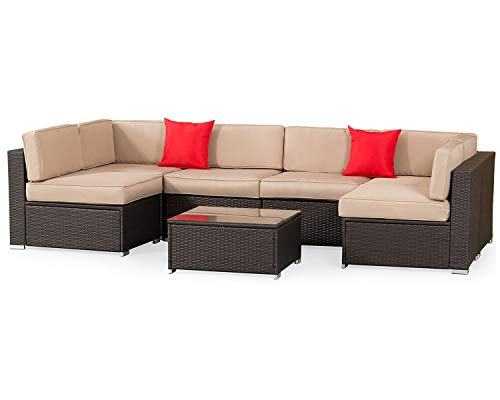 SOLAURA Patio Outdoor Furniture Bistro Set 7 Piece Conversation Set Brown Metal Frame Cushions Glass Coffee Table