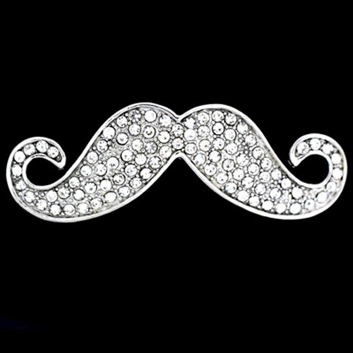 Brooches Store Silver and Crystal Gentlemen's Moustache Brooch