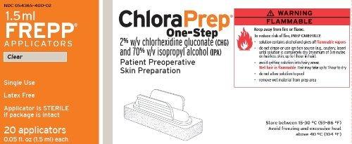 CareFusion ChloraPrep One-Step 2 Chlorhexidine gluconate 2% w/v and Isopropyl alcohol 70% v/v (Box of 20 Applicators)