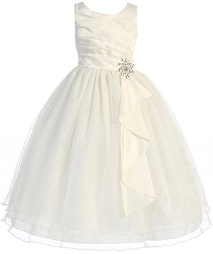 First Communion Flower Girls Dress Satin Surplice Top Double Layer Big Girl Ivory 6 CB.303