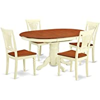 East West Furniture AVPL5-WHI-W 5 PC Dining Table Having Leaf & Four Wood Seat Kitchen Chairs in a Beautiful Buttermilk & Cherry Finish