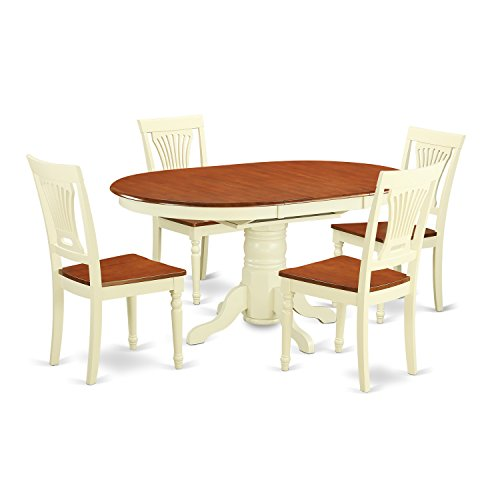 East West Furniture AVPL5-WHI-W 5 PC Dining Table Having Leaf & Four Wood Seat Kitchen Chairs in a Beautiful Buttermilk & Cherry (Beautiful Dining Set)