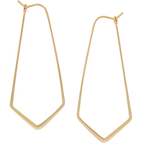 Geometric Chevron Threader Hoop Earrings - Lightweight Cutout Thin Wire Drop Dangles, 18K Yellow - 2 inch, Gold-Electroplated, Hypoallergenic, by Humble Chic NY