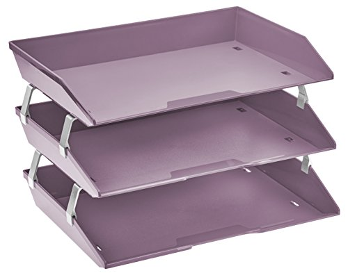- Acrimet Facility 3 Tier Letter Tray Plastic Desktop File Organizer (Solid Purple Color)