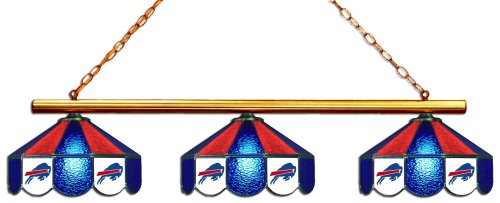 Imperial Officially Licensed NFL Merchandise: Tiffany-Style Stained Glass Billiard/Pool Table 3 Shade Light, Buffalo Bills