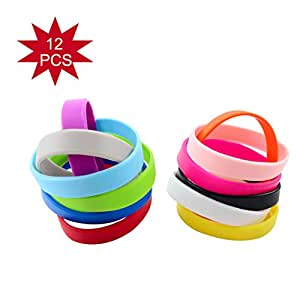 Green House-Wholesale 12pcs/set Mixed Colors Adult's Blank Silicone Wristbands,Rubber Bracelets - Party Favors