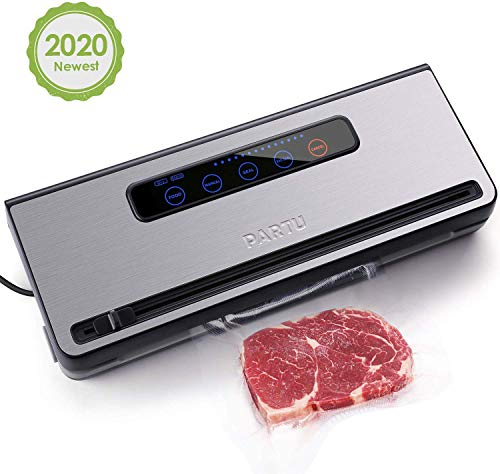 PARTU 2-in-1 Vacuum Sealer Machine Automatic Food Sealing & Vacuum for Dry/Wet Food Savers w/ 11″ x 118″ Sealer Bag, 2 External Suction Pipe for Fresh-keeping Tank and Clothes Storage