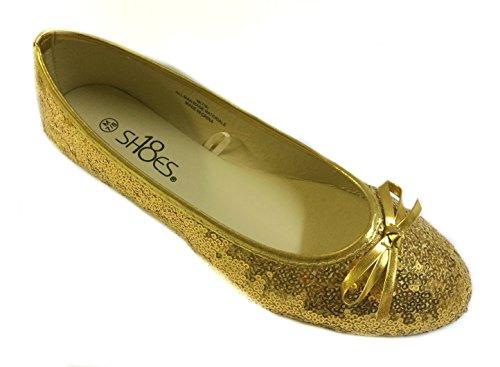 Schoenen 18 Schoenen8tien Dames Sequin Ballet Flat 2001b Goud