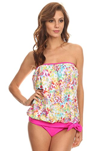 Dippin' Daisy's Multi Neon Leopard Bandeau Blouson Tie Tankini Swimsuit Set Size 8