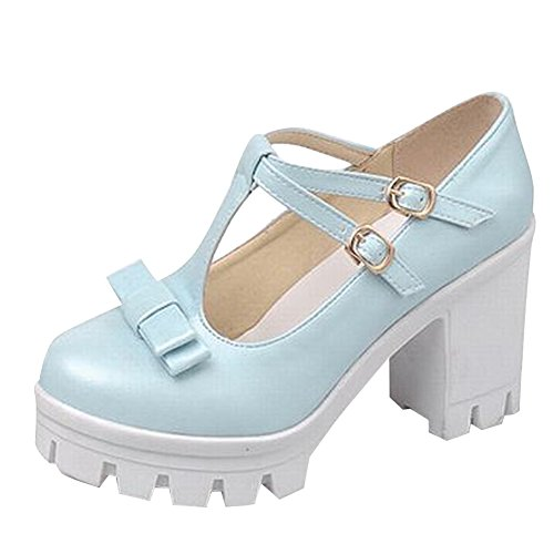 Carol Shoes Cute Women's Sweet Lolita T-Straps Buckles Cosplay Bows Platform High Chunky Heel Mary Janes Shoes (6, Blue)