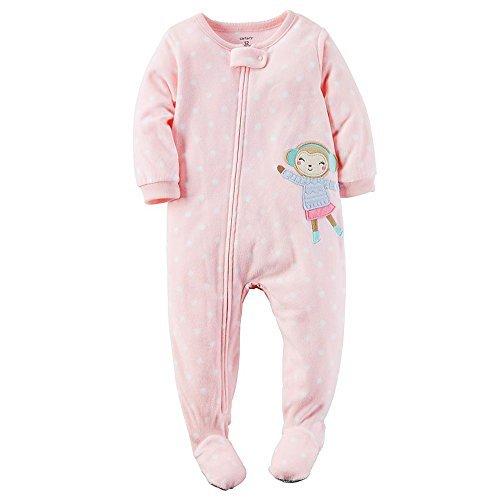 - Carters Baby Girls Fleece Pajamas (5T, Light Pink Monkey)