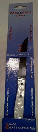 Cuchillo mesa Saez m/nacar 521/11 blanco: Amazon.es: Hogar