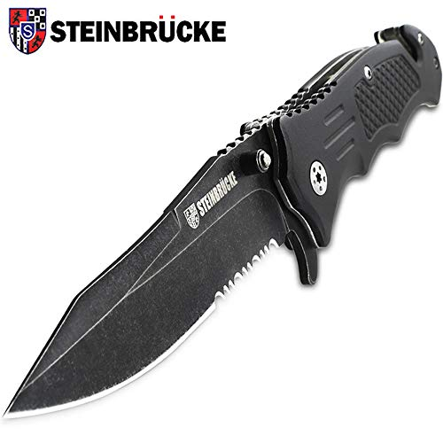 Steinbrucke Tactical Knife Spring Assisted Opening Pocket Knife Folding Stainless Steel 8Cr13Mov 3.4'' Blade, with Reversible Clip - Good for Hunting Camping Survival Outdoor and Everyday Carry