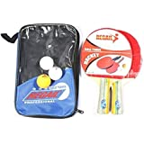 Table Tennis Set 2 Racket 3 Ball 1 Racket Pouch Long Handle Shake-hand Ping Pong Paddle [H9914 ]