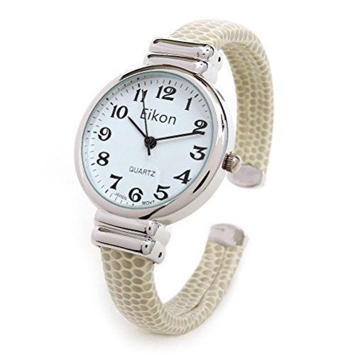 Beige Clench Bangle Clasp Petite Stainless Steel Case Leather Band Legible Numbers Women Watch