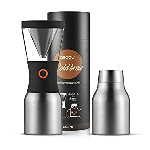 Asobu Coldbrew Portable Cold Brew Coffee Maker With a Vacuum Insulated 40oz Stainless Steel 18/8 Carafe Bpa Free (Silver)