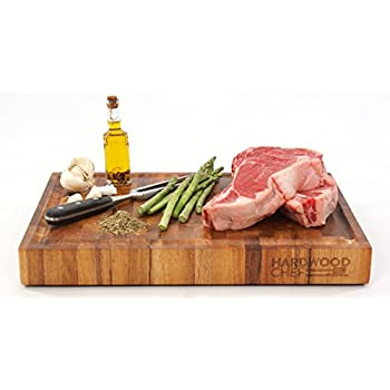 Hardwood Chef Premium Thick Acacia Wood End Grain Cutting Board Butcher Block with Groove, 16 x 12 x 1 3/4 in Incredible Cheese & Appetizer Serving Platter | For Chopping