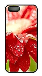 iPhone 5 5S Case Amazing Red Flower 21 PC Custom iPhone 5 5S Case Cover Black