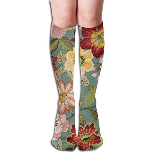 19.68 Inch Compression Socks Full Floral Designer High Boots Stockings Long Hose For Yoga Walking For Women Man