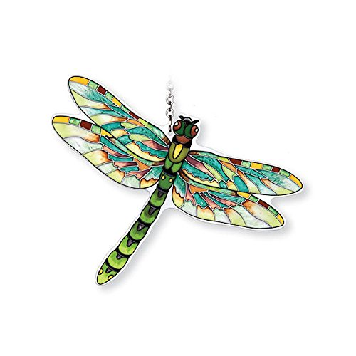 Amia Hand-Painted Glass Dragonfly Suncatcher - Green, Flame Skimmer