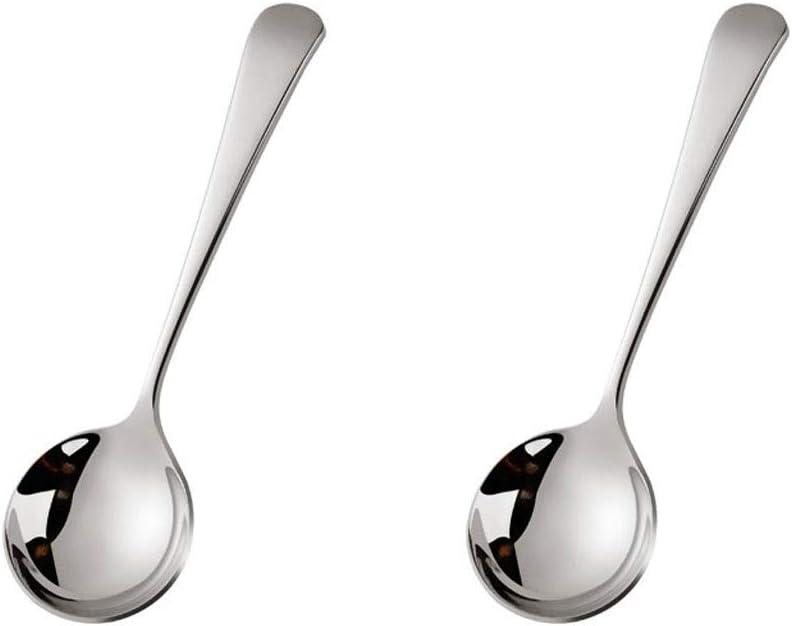 pu/ò essere utilizzato for il t/è cappuccino caff/è Cucchiaio da zuppa Bella colorato Cucchiaio con manico corto 6,2 pollici Cucchiai cinesi in acciaio inox tondo Spoon Set di 2 pezzi dessert