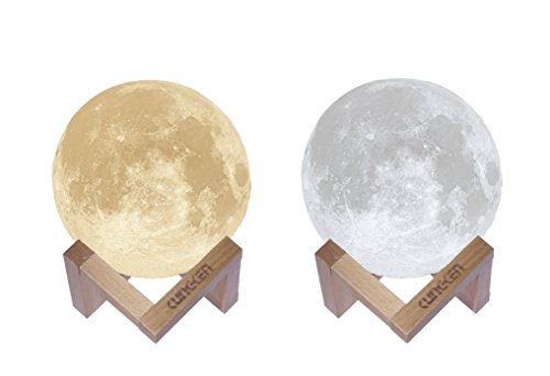 KUNGKEN Rechargeable 3D Printing Moon Lamp Premium Touch Control Luna Night Light Dimmable 2 Colors LED Mood Lamp with Magnetic Wooden Mount 5.12IN