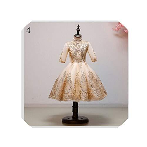MoMo 2019 Children's Princess Dress Girl's Wedding Dress Girl Sleeveless Evening Dress Gold Sequins Valentine's Day Dress,4,11T