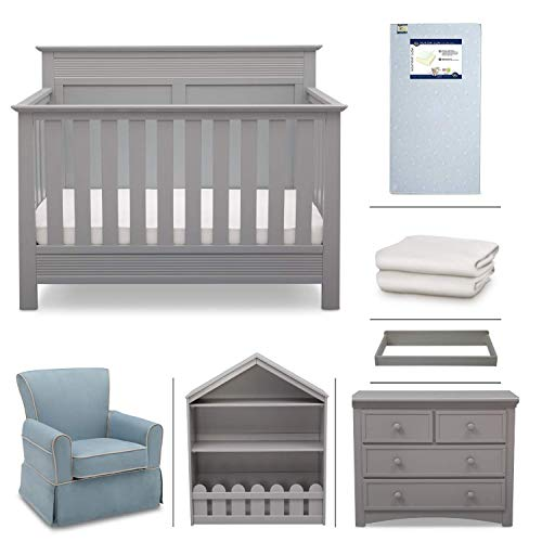 Baby Bedroom Furniture - Crib Furniture - 7 Piece Nursery Set with Crib Mattress, Convertible Crib, Dresser, Bookcase, Glider Chair, Changing Top, Crib Sheets, Serta Fall River - Grey/Baby Blue