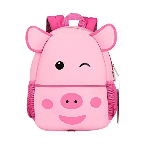 Toddler Backpack, Jenuther Waterproof Ultralight Cute Cartoon Pig Backpack For Kids PreSchool Children with Walking Leash Strap and Chest Buckle (Pig) (Pig Walking)