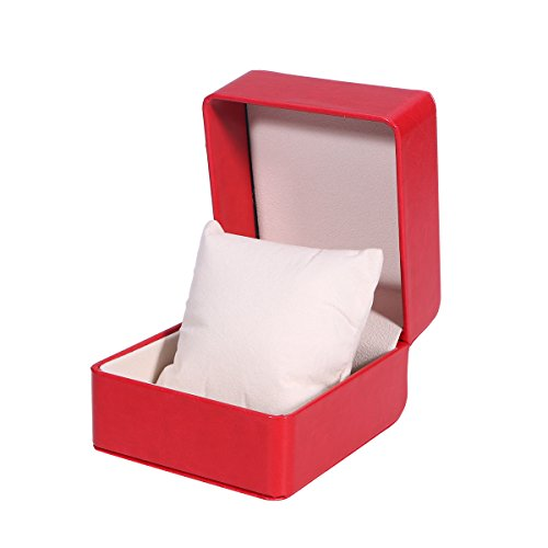 UEETEK Watch Box Holder Organizer,Premium Single Grid PU Storage Box Jewelry Bracelet Storage Gift Case,4.3 x 3.94 x 2.95inch(LxWxH)(Red)