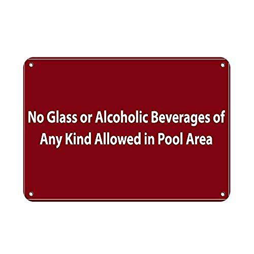プールでは許可されていないあらゆる種類のグラスまたはアルコール飲料 金属板ブリキ看板警告サイン注意サイン表示パネル情報サイン金属安全サイン