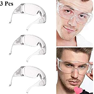 CBOKE 3 Pcs Anti-Fog Safety Protective Goggles Crystal Clear Eye Protection Laboratory Splash Goggles for Work Lab Home