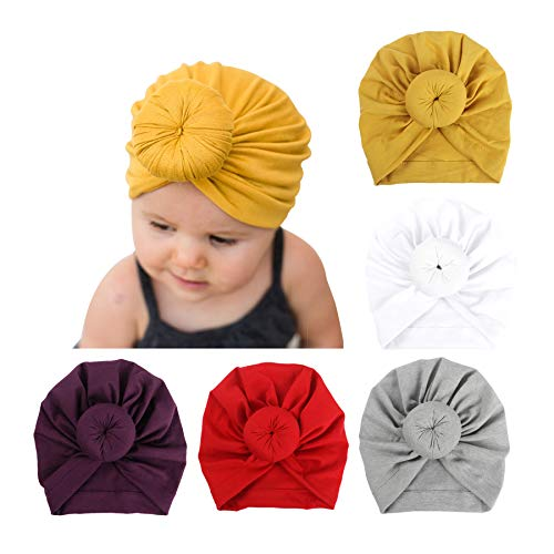 BQUBO 5 Pieces Cute Turban Hats for Baby Girls Vintage Soft Bun Knot Infant Toddler Baby Cap (5 Pack Donut B, 12-36 Month)